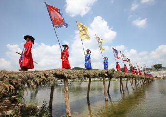 하회마을,'전통에 전통을 더하다'섶다리 설치